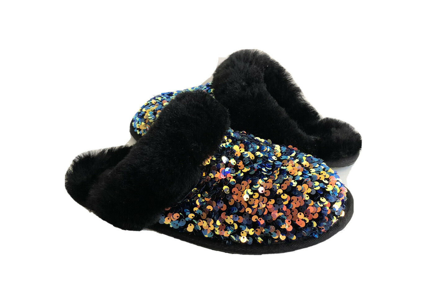 UGG SCUFFETTE II STELLAR SEQUIN SPARKLE BLACK SLIPPERS US 6 / EU 37 / UK 4 - $101.92