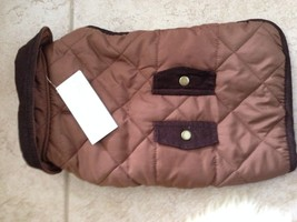 Wag & Bone Quilted Dog Jacket:Medium Brown Quilted Cord Trim Pocket - $19.69
