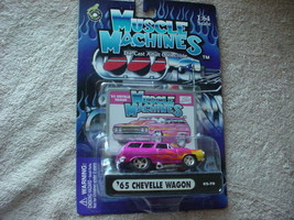 Muscle Machines '65 Chevelle Wagon PINK/FLAMES 02-70 Free Usa Shipping - $11.29