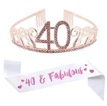 """40th Birthday Pink Tiara and Sash, Glitter Satin""""40 & Fabulous"""" Sash and Crystal - $17.40"""