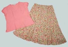 CATO WOMENS SIZE XL 2 PIECE TOP & SKIRT SET PEACH FLORAL FLOWERS - $14.84