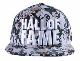 Hall of Fame Chunk Pesado Bordado Digi Camuflaje Gorra Plana Snapback Nwt