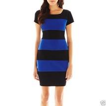 Ladies Bisou Bisou Striped Black Cobalt Dress Size 2 New Msrp $60.00 - $16.99