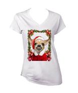 Chihuahua Santa Christmas Decoration - WHITE COTTON LADY TSHIRT - $19.39