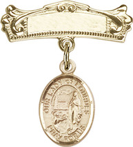 14K Gold Baby Badge with O/L of Lourdes Charm Pin 7/8 X 3/4 inch - $507.83