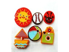 Rubber Summer-themed Sticker Set, Sun, Baseball, Boat and More! Set of 6