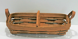 Longaberger Basket 1992 Divider Cracker Leather Handle Woven Traditions  - $29.02