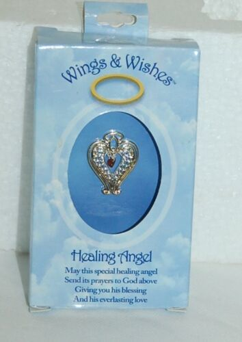 DM Merchandising Wings Wishes Healing Angel Silver Gold Color Red Heart WGWHEAL