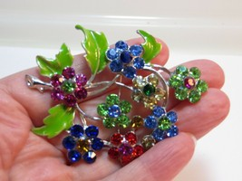 Fashion Flower Rhinestone Crystal Silver Plated Brooch Pin Jewelry Gift ... - $9.41