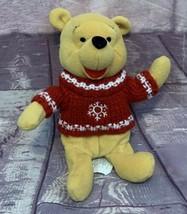 "Disney Winnie The Pooh Winter Snow Flakes Red Sweater Beanie Plush 10"" - $16.14"