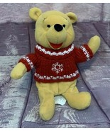 "Disney Winnie The Pooh Winter Snow Flakes Red Sweater Beanie Plush 10"" - $16.14"