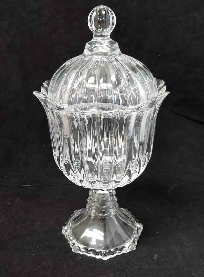 cut glass candy jar w lid 11 5 x 6 clear glass pedestal dish other. Black Bedroom Furniture Sets. Home Design Ideas