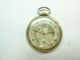 Benrus GOLD PLATED 17 JEWEL POCKET WATCH RUNS FOR DIAL REFINISHING RESTO... - $153.84