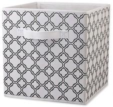 Storage Bin Black White Home Basics Quatrefoil Patterned Sturdy Non Wove... - $12.75
