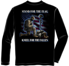 New Stand For The Flag Kneel For The Fallen Long Sleeve Shirt Patriotic Military - $24.74+
