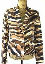 NEW Anne Klein M 6 Camel multi black brown ivory animal stripe blazer NW... - $18.95