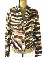 NEW Anne Klein M 6 Camel multi black brown ivory animal stripe blazer NW... - $18.95
