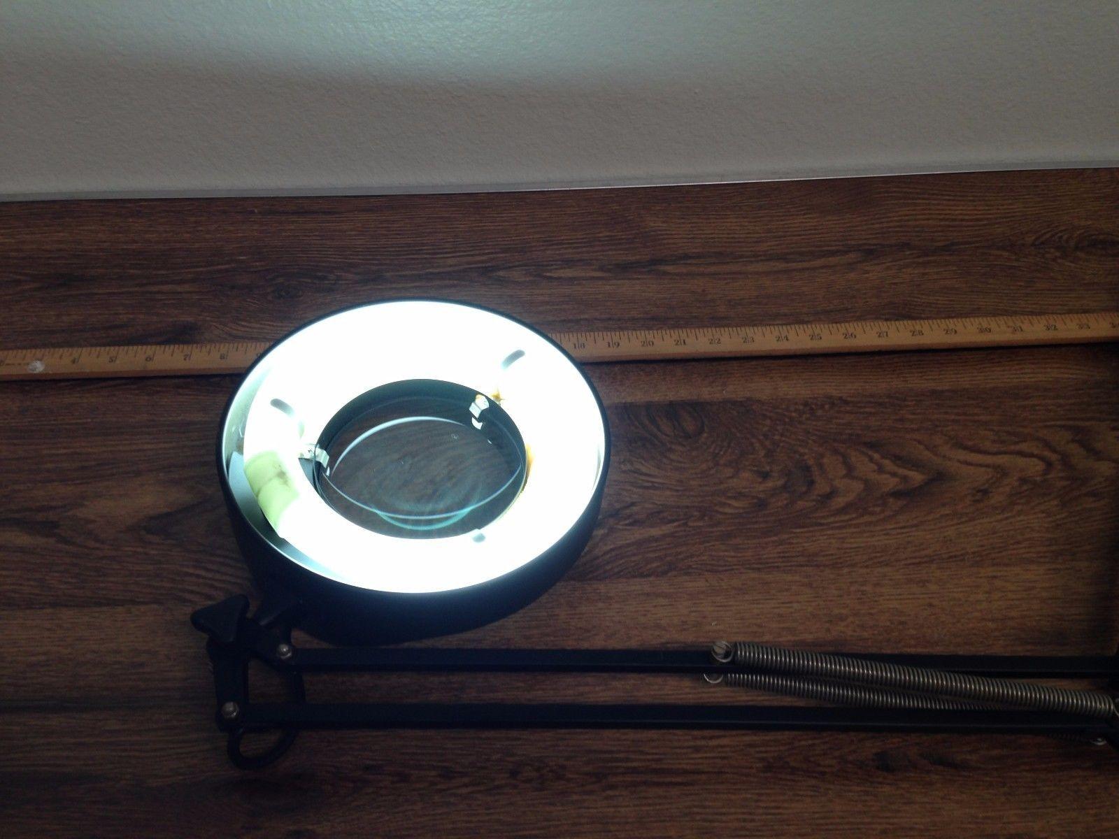 Vintage Portable Luminaire Round Magnifier Desk Lamp 120V 22W  Clamp Missing
