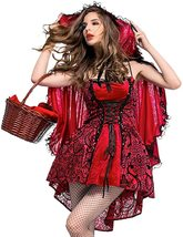 Sexy Velvety Little Red Riding Hood Fairy Tale Deluxe Costume image 2