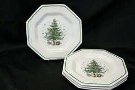 """Nikko Christmastime Salad Plates 8.25"""" Lot of 5 Christmas  - $48.99"""