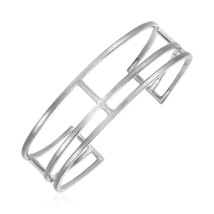 Womens Stunning Textured Open Rectangle Cuff Bangle Bracelet Sterling Si... - $105.84