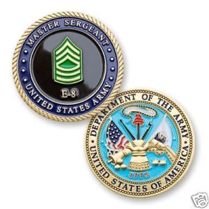 ARMY MASTER SERGEANT COLOR E-8 MILITARY CHALLENGE COIN