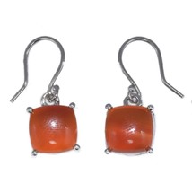 10X10MM Square Shape Carnelian Gemstone 925 Sterling Silver Earring SHER... - $17.73