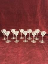 VINTAGE GLASS CRYSTAL CORDIAL WINE GLASSES STEM STAR DETAIL 10 PIECES - $47.51