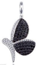 Butterfly Design Black Coloured Cubic Zirconia Pave Setting Sterling Sil... - $48.16