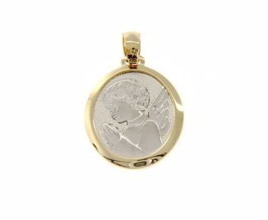 18K YELLOW WHITE GOLD PENDANT OVAL MEDAL PRAYING ANGEL ENGRAVABLE MADE IN ITALY