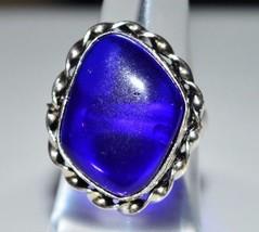 VTG .925 Sterling Silver Dark Blue Glass Cabochon Ring Size 7.25 - $39.60