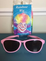 New Rainbow Clown Wig Elasticized Lining Halloween Costume Afro Adult sunglasses - $19.31