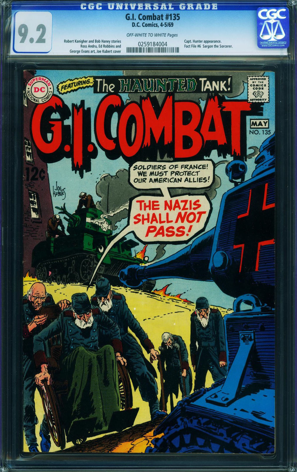 G.I. COMBAT #135 CGC 9.2 1967-DC-WWII STORIES- HAUNTED TANK 0259184004