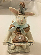 Heather Myers Bunny Rabbit Happy Easter Spring Figurine  - $19.79