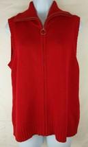 Rafaella Red Cotton Zip up Sleeveless Vest - Size is Medium - $12.16