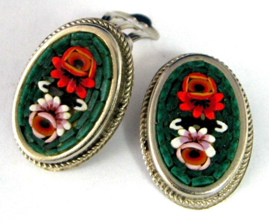 Primary image for Earrings Italian Mini Mosaic 1960s Clips Roses Oval Italy Green Background Micro