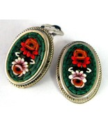 Earrings Italian Mini Mosaic 1960s Clips Roses Oval Italy Green Backgrou... - $32.00