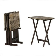 "Linon Home Decor Tray Table Set, Faux Marble, 18.88""W x 15.75""D x 26.38""H  - $69.16"