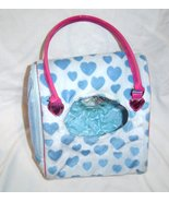 Battat Pucci Pups Plush Toy Dog Carrier Bag Only Blue Hearts Pink - $14.99