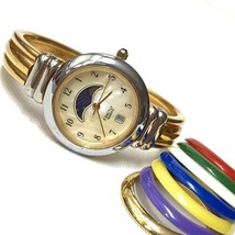 Vintage EXACTLY Women's Sun & Moon Phase Date Watch Silver Gold Two Tone... - $29.65