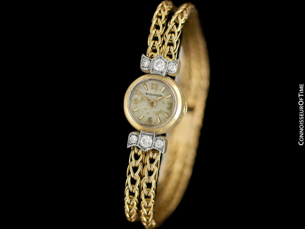1950's JAEGER-LECOULTRE Vintage Ladies Backwind 18K Gold & Diamond Watch - Warra image 8
