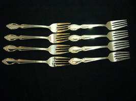 "Rogers & Bro Silvery Mist 6 3/4"" Silverplate Salad Forks x 8 - $52.35"