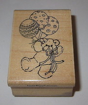 Balloon Teddy Bear Rubber Stamp Lucy Rigg Ribbon Bow Hearts Wood Mounted #2 - $5.53