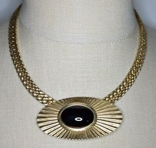 VTG PARK LANE Gold Tone Egyptian Revival Black Cabochon Choker Necklace - $39.60