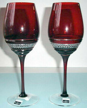 Waterford John Rocha Voya Red Wine Pair Crystal Glasses 146340 New in Box - $199.90