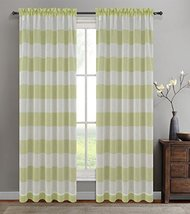 Urbanest 54-inch by 63-inch Set of 2 Nassau Faux Linen Sheer Striped Curtain Pan - $24.74