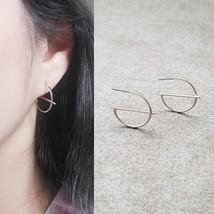 Bar Medium Hoop Earrings Brass Titanium Ear Silver Tone Women Fashion Item E263 - $14.48