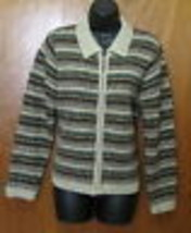 Croft & Barrow Sweater Zip Front Cardigan size Small Multi Color Wool Blend - $19.75