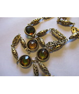 "Vintage Accessocraft Sautoir Necklace, Bezel Set Bi-Color Glass, 53"" Lon... - £33.89 GBP"