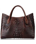 New Italian Leather Crocodile Embossed Luxury Tote Handbag Croc Bag Satc... - $179.95+